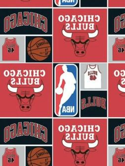 1 Yard NBA Chicago Bulls Blocks Basketball Team Quilt Cotton