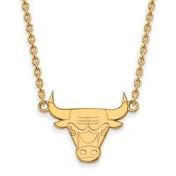 14k Yellow Gold NBA LogoArt Chicago Bulls Large Pendant w/Ne