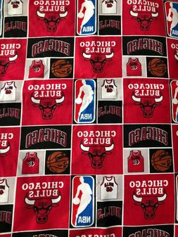 "17"" Chicago Bulls Blocks Basketball NBA Quilt Cotton Fabric"