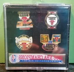 1996 Chicago Bulls NBA Champions Commemorative Pin Set new s