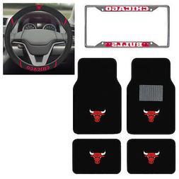 6pc NBA Chicago Bulls Floor Mats Steering Wheel Cover & Lice