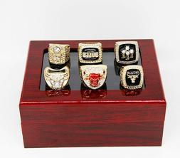6pcs/set Chicago Bulls Championship Rings Size 11 In wood Bo