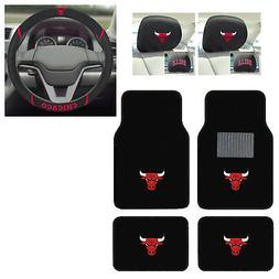 7pc NBA Chicago Bulls Car Truck Floor Mats Steering Wheel Co