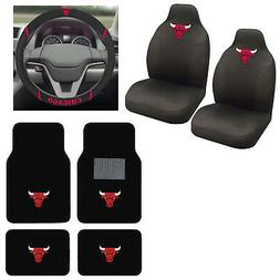 7pc NBA Chicago Bulls Car Truck Seat Covers Floor Mats Steer