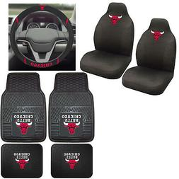 7pc Set NBA Chicago Bulls Car Truck Seat Covers Floor Mats S