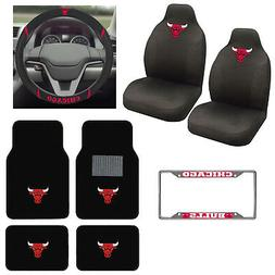 8pc NBA Chicago Bulls Car Truck Seat Covers Floor Mats Steer