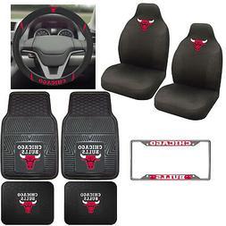 8pc Set NBA Chicago Bulls Car Truck Seat Covers Floor Mats S