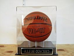 Chicago Bulls Basketball Display Case And Nameplate For A Te