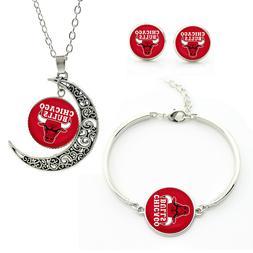 BK02 Chicago Bulls team logo set -necklace, bracelet, earrin