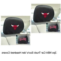 Chicago Bulls 2-Pack Auto Car Truck Embroidered Headrest Cov
