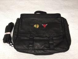 Chicago Bulls & Blackhawks expandable Soft BLACK LEATHER BRI