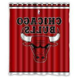 Chicago Bulls Basket Ball Waterproof Fabric Bath Shower Curt