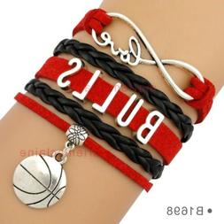 Chicago Bulls Charm Bracelet Basketball Infinity Charm Quali