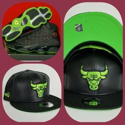 New Era Chicago Bulls Black Faux Leather snapback hat Jordan