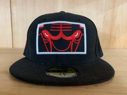 NEW ERA CHICAGO BULLS BLACK RED ZOOMED IN FITTED HAT 59FIFTY
