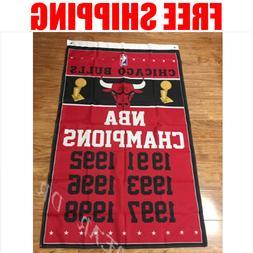 Chicago Bulls Champions Flag NBA Basketball Banner 3X5 ft 2