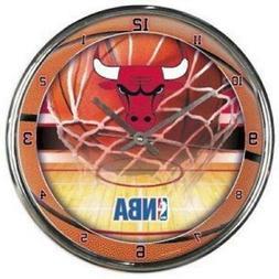 Chicago Bulls Chrome Round Wall Clock  NBA Sign Banner Offic