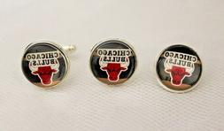 Chicago Bulls Cufflinks and Tie Tack Set Upcycled from NBA B