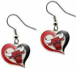 Chicago Bulls Earrings Fashion Dangle Swirl Heart  Licensed