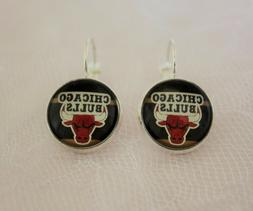 Chicago Bulls Earrings made from Basketball Trading Cards Up