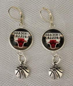 Chicago Bulls Earrings w/ Basketball Charm Unique Upcycled f