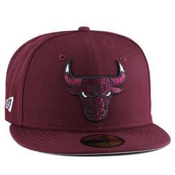 New Era Chicago Bulls Fitted Hat All MAROON/White Eye jordan