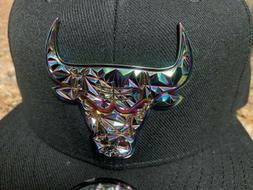 Chicago Bulls Fractured Metal Badge Baseball Hat Snapback Ca