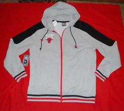Chicago Bulls NBA Jacket Men's Fleece Hoodie Size L Gray Col