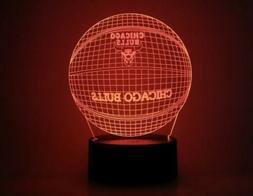 Chicago Bulls NBA 3D Acrylic LED Night Light 7 Color Home De
