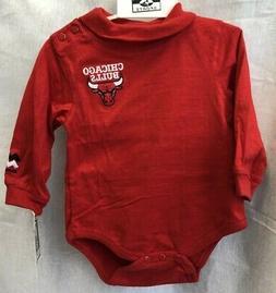 CHICAGO BULLS NBA INFANT RED LONG SLEEVE BODYSUIT 3/6M 6/9M