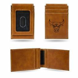 Chicago Bulls NBA Laser EngravedBrown Front Pocket Wallet/