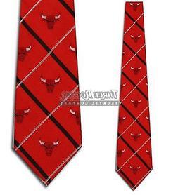 Chicago Bulls NBA Silver Line Woven Silk Mens Tie
