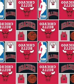 Chicago Bulls Patch Printed Cotton Poplin Fabric By The Yard