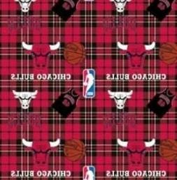 Chicago Bulls Plaid NBA Basketball Sports Team Fleece Fabric