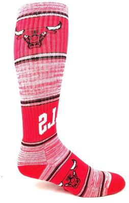 Chicago Bulls Red Basketball RMC Striped Ribbed Tube Socks