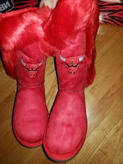 Chicago Bulls Red Fur Boot Size 11 NEW