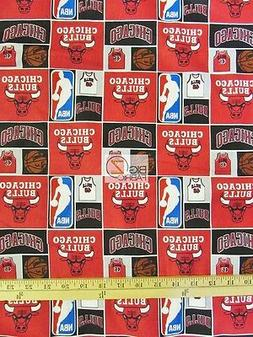 CHICAGO BULLS RETRO NBA PRINT 100% COTTON FABRIC BY CAMELOT