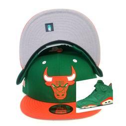 New Era Chicago Bulls snapback hat Jordan 6 Green - Orange G