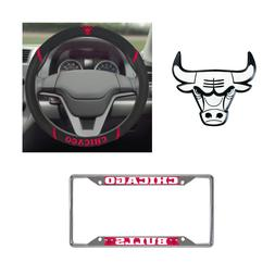 Chicago Bulls Steering Wheel Cover, License Plate Frame, 3D