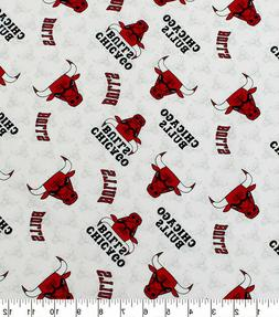 Chicago Bulls Toss Printed Cotton Poplin Fabric By The Yard