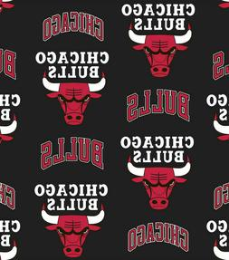 Chicago Bulls Tossed Black Printed Cotton Poplin Fabric By T