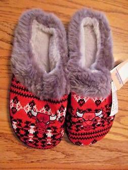 CHICAGO BULLS Women's Knit & Faux Fur Scuff SLIPPERS~Size XL