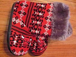 CHICAGO BULLS Women's Knit & Faux Fur BOOT SLIPPERS~Size LAR