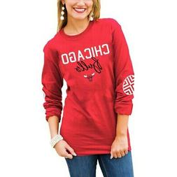 Chicago Bulls Women's Red Elbow Patch Long Sleeve T-Shirt