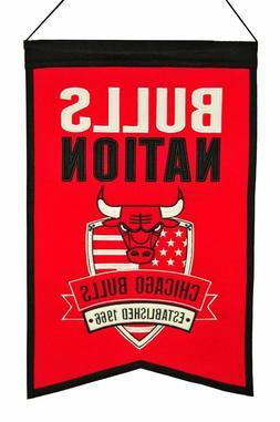 Chicago Bulls Wool Nation Banner  NBA Sign Wall Man Cave Fla
