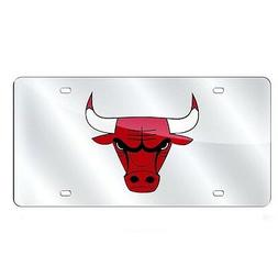 Chicago Bulls Laser Cut Silver License Plate