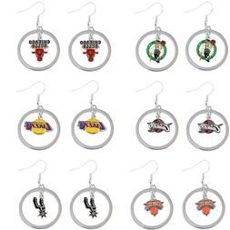 dangle earring floating hoop charm NBA PICK YOUR TEAM