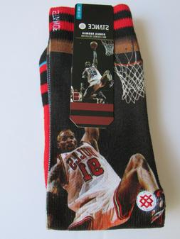 Dennis Rodman Chicago Bulls Stance NBA Legends Mens Crew Soc