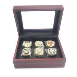 Chicago Bulls Gold World Championship 6 Ring Set & Display C