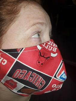 Homemade Fabric Reusable Face Mask washable Chicago Bulls